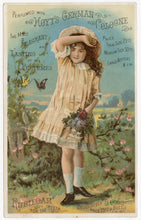 Load image into Gallery viewer, Victorian Hoyt's German Cologne, Perfume Trade Card || Girl & Butterflies