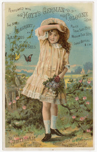 Victorian Hoyt's German Cologne, Perfume Trade Card || Girl & Butterflies