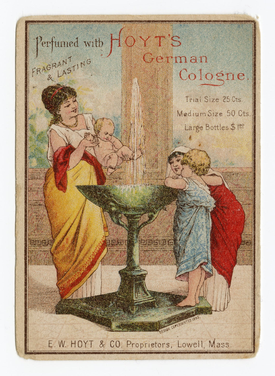 Victorian Hoyt's German Cologne, Perfume Trade Card || Grecian Fountain, Baby