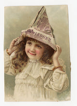 Load image into Gallery viewer, Victorian Hire's Cough Cure, Quack Medicine Trade Card || Newspaper Hat