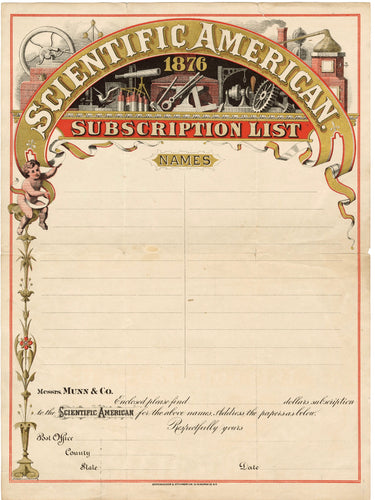 1876 SCIENTIFIC AMERICAN MAGAZINE SUBSCRIPTION LIST, Bank Letterhead