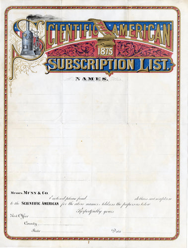 1875 SCIENTIFIC AMERICAN MAGAZINE SUBSCRIPTION LIST, Blank Letterhead