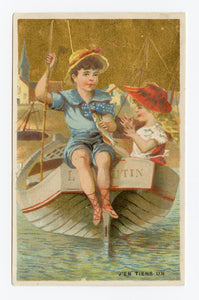 Victorian French Trade Card Advertising Clothing || Children on Boat