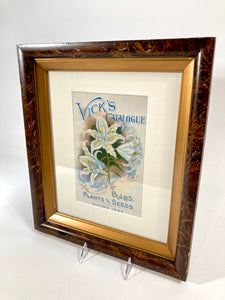 1899 Framed VICK'S SEED CATALOG Cover/ Lithograph, Flowers, Plants