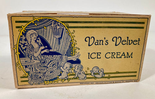 1921 Antique Van's Velvet Ice Cream Cardboard, Waxed Box, Cherubs