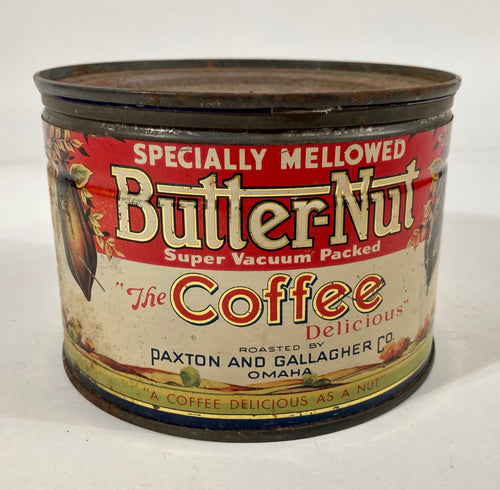 Antique 1910's-1920's Butter-Nut Coffee Tin, Empty