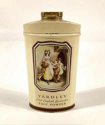 Antique Yardley Old English Lavender Talcum Powder Tin, Partially Full