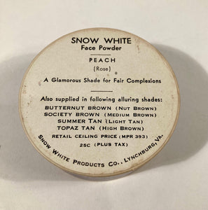 Vintage 1940's Snow White Face Powder, Full Unopened Box