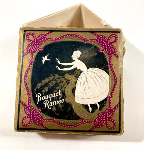 Antique 1920's French Bouquet Ramee Face Powder Box, Empty
