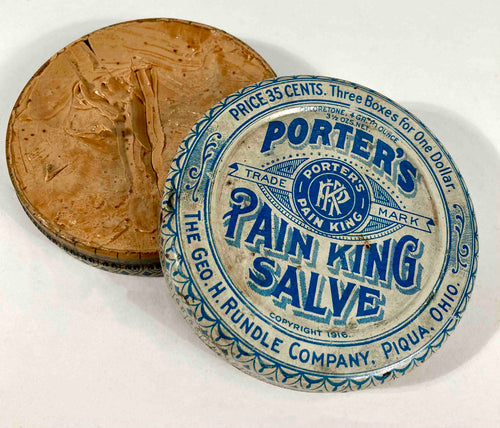 1916 Antique Porter's Pain King Salve Medical Tin, Quack Nostrum