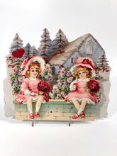Load image into Gallery viewer, Antique VICTORIAN Pop-Up Three Dimensional VALENTINE || Girls on Garden Wall