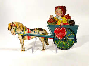 "Vintage MECHANICAL ""Cart-Load of Sweethearts"" VALENTINE 