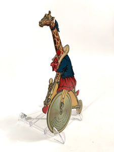 Antique Rare MECHANICAL German-Made VALENTINE || Anthropomorphic Giraffe on a Bicycle