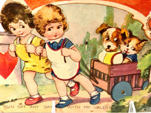 Load image into Gallery viewer, Antique 1920's MECHANICAL VALENTINE || Children Pulling Cart with Dog and Cat