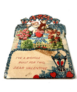 Antique 1920's Pop-Up VALENTINE || Bicycle Built For Two
