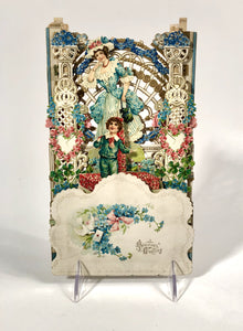 Antique Intricate Fold-Out VALENTINE || Georgian Woman and Child, Latticework