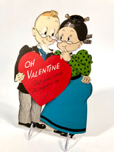 "Load image into Gallery viewer, Vintage NORCROSS Die-Cut, Stand-Up VALENTINE || Older Couple in Glasses ""Oh Valentine"""
