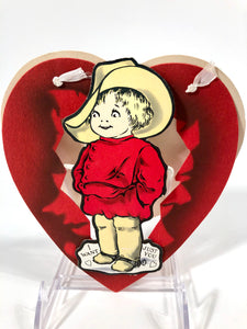 Antique 1920's Three Dimensional Pop-Out VALENTINE || Child in Calvary Gear