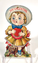 Load image into Gallery viewer, Antique MECHANICAL 1920's VALENTINE || Big Eyed Child with Nervous Dog