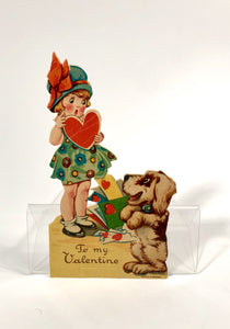 Antique 1920's VALENTINE Card || Little Girl and Dog Receiving Mail