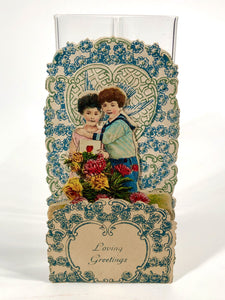 Antique Fold-Out Three Dimensional 1920's VALENTINE || Young Couple and Vase of Flowers