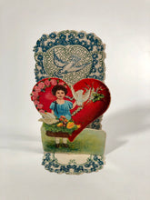 Load image into Gallery viewer, Antique Fold-Out Three Dimensional 1920's VALENTINE || Little Girl, Doves and Basket of Flowers