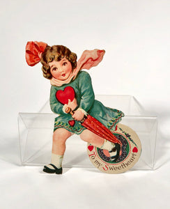 "Antique MECHANICAL 1920's-1930's VALENTINE, Girl with Umbrella and Heart || ""To My Sweetheart"""