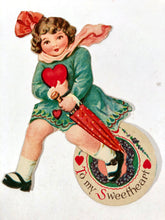 "Load image into Gallery viewer, Antique MECHANICAL 1920's-1930's VALENTINE, Girl with Umbrella and Heart || ""To My Sweetheart"""