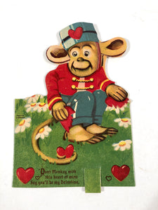 "Antique MECHANICAL 1920's-1930's VALENTINE Monkey Holding a Broken Heart || ""Don't Monkey with this Heart"""