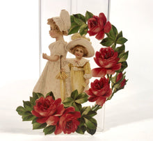 Load image into Gallery viewer, Antique 1910's-1920's Embossed VALENTINE/ SCRAP || Two Girls Surrounded By Flowers