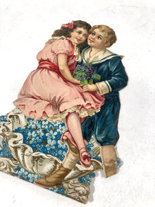 Antique Embossed Stand-Up VALENTINE || Boy and Girl Atop Clamshell