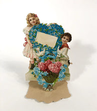"Load image into Gallery viewer, Antique 1910's-1920's Popup VALENTINE, Children with Basket of Roses || ""To My Love"""