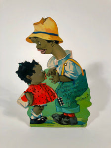 "Antique MECHANICAL 1920's Black Americana, Racist VALENTINE || ""Lookin' fo' Mah Valentine"""