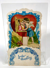 "Load image into Gallery viewer, Antique 1920's Foldout, Popup VALENTINE || ""Love's Greeting"""