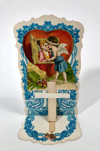 "Antique 1920's Foldout, Popup VALENTINE || ""Love's Greeting"""