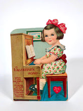 "Load image into Gallery viewer, Antique MECHANICAL 1920's VALENTINE, Piano Playing Girl  || ""Valentine's Song"""