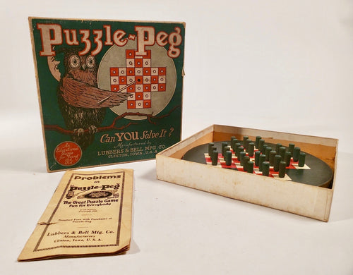 1920's PUZZLE PEG Children's Educational Game, Owl and Moon
