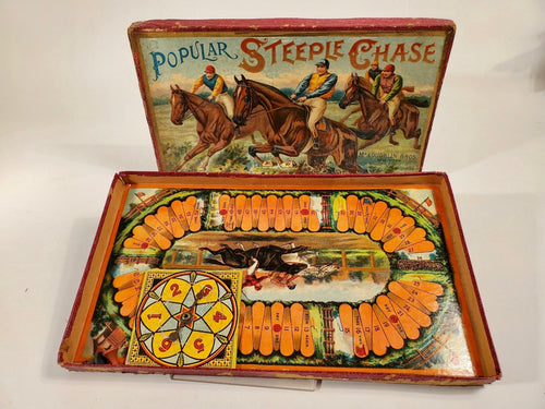 Antique 1900's POPULAR STEEPLE CHASE Children's Game, Horse Racing