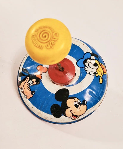 1973 Tin DISNEY SPINNING TOP, Mickey Mouse, Donald Duck, Goofy, Pluto