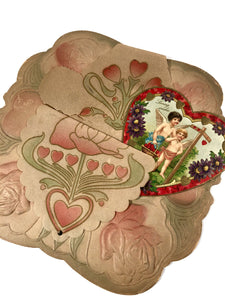 "Antique 1910's Paper VALENTINE, Art Nouveau Design || ""Loving Wishes"""