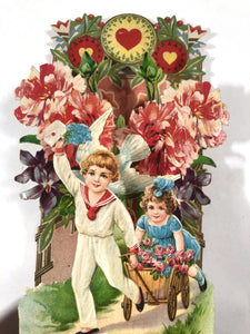 "Antique POPUP 1920's VALENTINE, Little Boy and Girl Pulling a Cart || ""To my Valentine"""