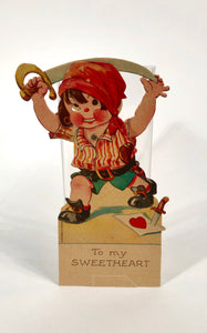 "Antique MECHANICAL 1920's VALENTINE, Pirate Boy with Sword || ""To my Sweetheart"""