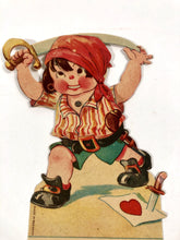 "Load image into Gallery viewer, Antique MECHANICAL 1920's VALENTINE, Pirate Boy with Sword || ""To my Sweetheart"""