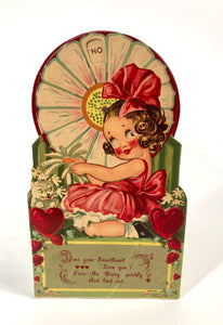 Antique MECHANICAL 1920's VALENTINE || Daisy Fortune Telling