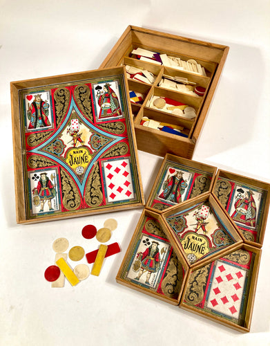 Antique, 1921 French NAIN JAUNE Children's Board Game, Complete Box Set