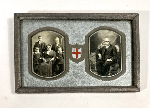 Victorian Framed Double Sided Family Portrait with Family Crest, Silver Mat