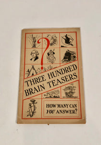 Vintage THREE HUNDRED BRAIN TEASERS Booklet || Lydia E. Pinkham's Tablets