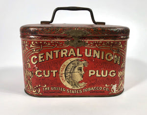 Antique Turn of the Century CENTRAL UNION Tobacco Tin Box || EMPTY