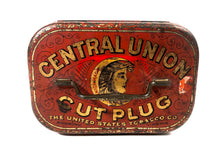 Load image into Gallery viewer, Antique Turn of the Century CENTRAL UNION Tobacco Tin Box || EMPTY