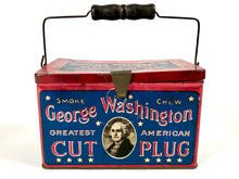Load image into Gallery viewer, Antique Patriotic GEORGE WASHINGTON Tobacco Tin, LUNCHBOX || EMPTY